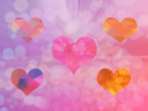 Heart pink bokeh of love symbol on background Photo
