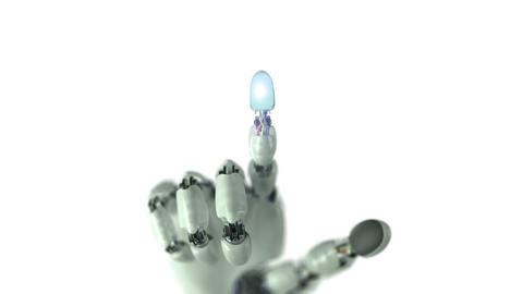 Robotic Hand Presses on the Screen and Makes Electronic Scheme 애니메이션