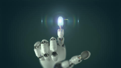 Robotic Hand Presses on the Screen and Makes Electronic Scheme Animation