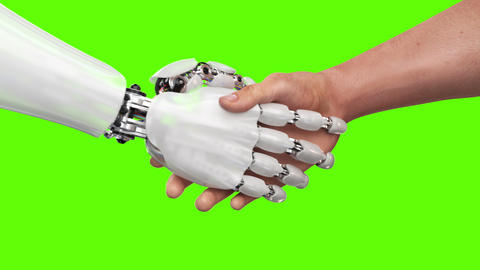 Robot and Man Shaking Hands 애니메이션