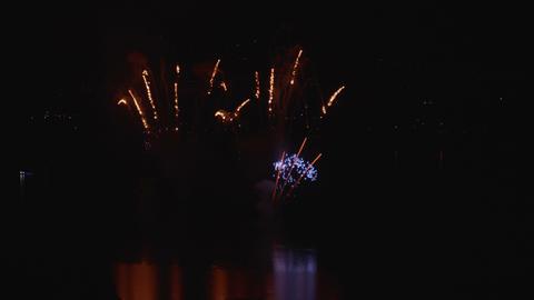 Fireworks Display Night Water Footage