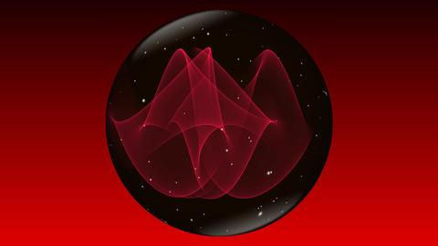 Magic mysterious sphere in black and red design with small white flying sparkles GIF