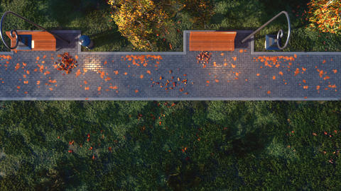 Walkway with empty benches in autumn park top view Footage