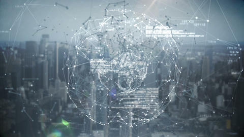 Binary code with polygonal circle connecting dots and lines 4k Live Action