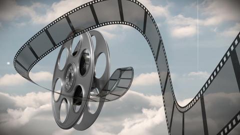 Film reel against sky background 4k Footage