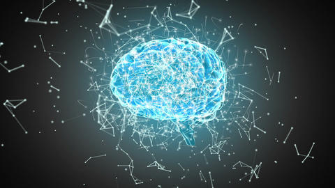 Brain with polygonal connecting dots and lines 4k Live Action