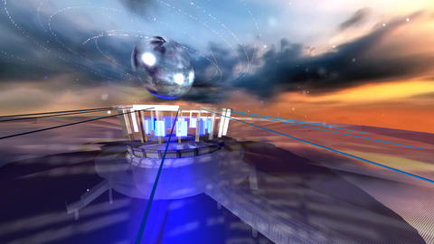 3d futuristic spaceship and earth Animation