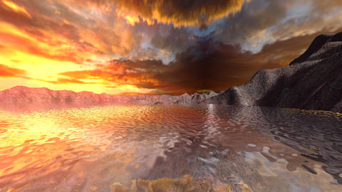 panoramic beautiful sunset Animation