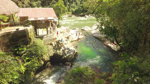 Beautiful Natural Swimming Pools At Laguna Azul Near Tena Ecuador Live Action