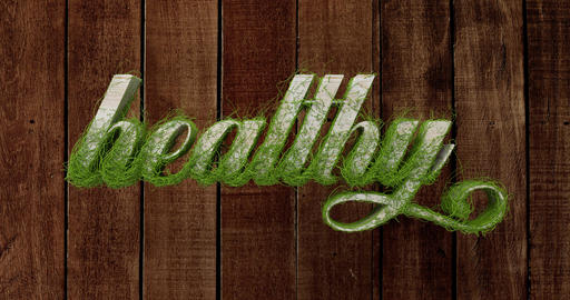 "The word ""healthy"" in natural wood optics. 3d rendering Animación"