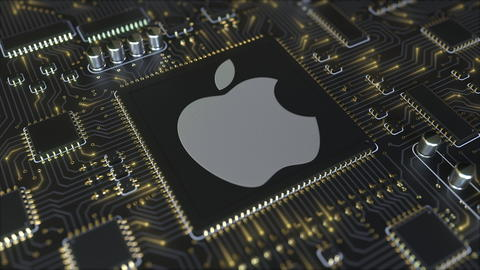 Computer printed circuit board or PCB with Apple Inc. logo. Conceptual editorial Photo