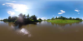 VR360 Landscape with river and trees ビデオ