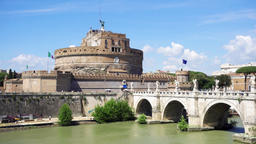 View of St. Angelo castle from the other side of Tiber river. Castello Sant Footage