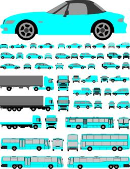 Cars set of silhoettes Vector