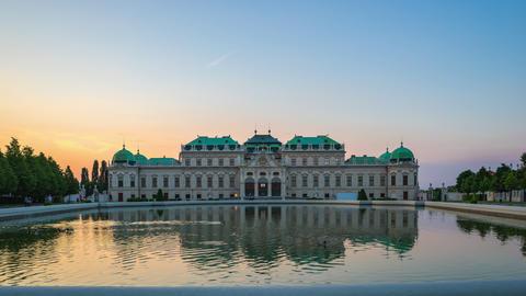 Timelapse video of Belvedere Museum Garden in Vienna, Austria time lapse 4K Footage