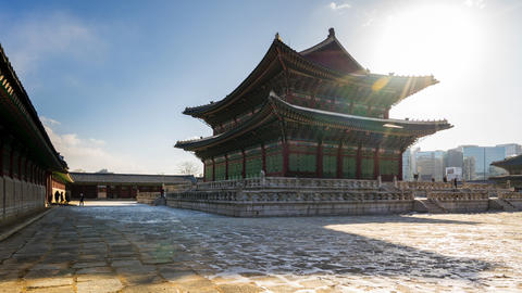 Time Lapse video of Gyeongbokgung Palace landmark in Seoul, South Korea Live Action