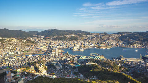 Nagasaki city skyline in Nagasaki, Japan timelapse 4K Footage