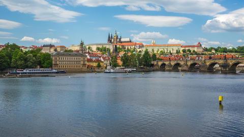 Prague city skyline with Charles Bridge in Prague, Czech Republic timelapse 4K Footage