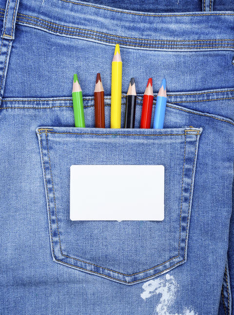 blank white business card and colored pencils Photo