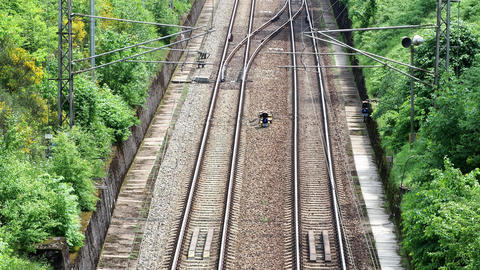 View on two railway track lines ビデオ
