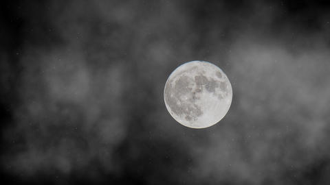Full Moon in the fog animation Stock Video Footage