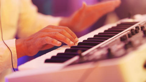 close up shot of musician playing keyboards Footage