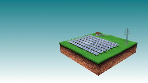 Solar Power Energy Park Sending Eco Power via Electric Power Transmission GIF
