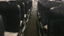 Interior Empty Airplane Cabin POV Footage