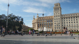 4K Placa de Catalunya Tourists in Barcelona Footage