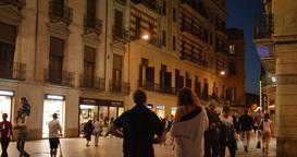 4K Barcelona Street Activity at Night Footage
