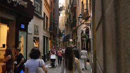 4K Narrow European Barcelona Streets stock footage