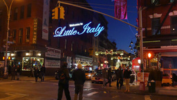 4K Little Italy Establishing Shot Night stock footage