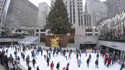 4K Rockefeller Center Ice Rink Footage