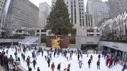 4K Rockefeller Center Ice Rink Footage