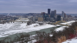 Winter Pittsburgh Establishing Shot Footage