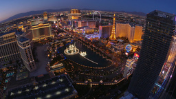 Aerial View of the Las Vegas Strip and Bellagio Fountains in the Evening Footage