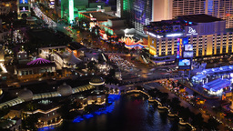 Aerial Time Lapse View of the Las Vegas Strip at Night Footage