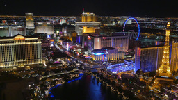 Flash Zooms of the Las Vegas Strip at Night Footage