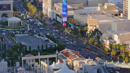 Aerial Las Vegas Strip Tilt Shift Establishing Shot stock footage