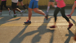 Low Angle View of Pittsburgh Marathon Runners on Andy Warhol Bridge Footage
