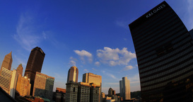 Fisheye Timelapse View of Day to Night Over Pittsburgh Footage