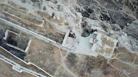 van historic castle in turkey, shooting in the air with drone GIF