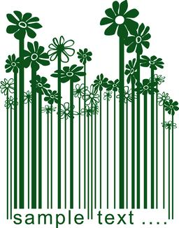 Floral green barcode Vector