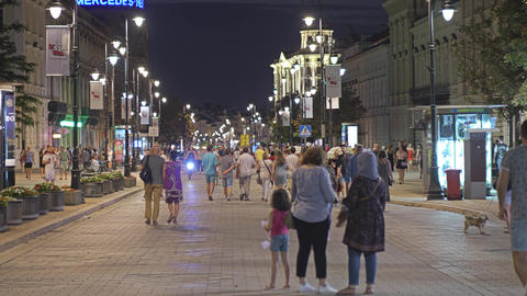WARSAW, POLAND - AUGUST 4, 2018. Crowded pedestrian street in city centre in the Footage