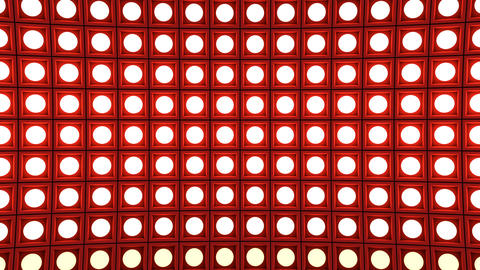Lights flashing wall bulbs pattern static horizontal red stage background vj Animation