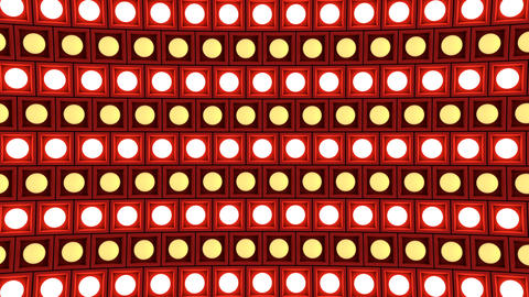 Lights flashing wall bulbs pattern rotation stage red background vj loop Animation