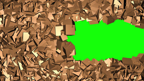 Imploding spinning cubes reveal Green screen background. 3d animation Animation
