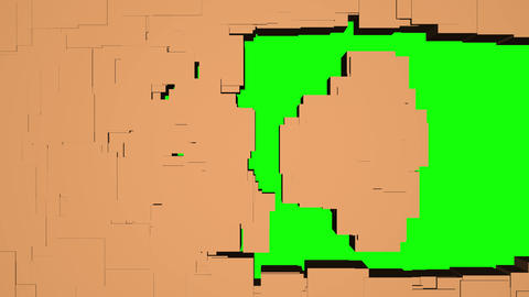 Imploding squares reveal Green screen background. 3d animation Animation