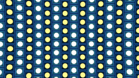 Lights flashing wall bulbs pattern rotation down blue stage background vj loop Animation