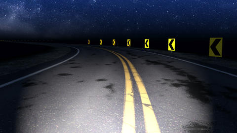Night curved road with starry sky loop GIF